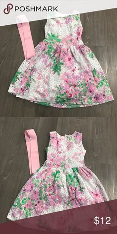 THE CHILDREN'S PLACE FLORAL FLOWER PASTEL DRESS Size 8 worn 2 times has ribbon to go around waits zipper back Children's Place Dresses