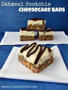 Oatmeal Scotchie Cheesecake Bars- I think I'll try with Reese's chips instead of butterscotch