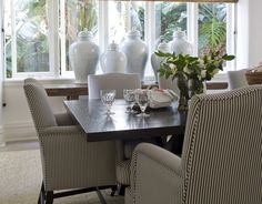 Love the pin-striped fabric on the dining chairs! Dining - Marco Meneguzzi Design - Interior Design