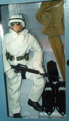 """GI Joe U.S. Army Coldweather 12"""" Action Figure CAUCASIAN VERSION by Hasbro. $49.98. Features Authentic Cold Weather outfit. GI Joe U.S. Army Coldweather 12"""" Action Figure CAUCASIAN VERSION. Comes with Snow Shoes and other Equipment. This is a GI Joe U.S. Army Coldweather 12"""" Action Figure CAUCASIAN VERSION - Comes with loads of authentic equipment."""