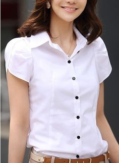 Plus Size Blusa Pleated Front Chemise Femme Puff Sleeve White Ladies Office Shirt Women Formal Blouses Formal Blouses, Short Sleeve Button Up, Short Sleeve Blouse, Blouse Styles, Blouse Designs, The Office Shirts, Blouse Online, Shirt Blouses, Womens Fashion