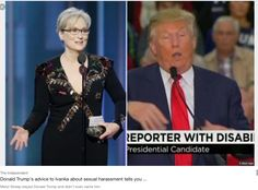 Meryl Streep slayed Donald Trump and didn't even name him. She simply stated that someone running for the highest office in the land, should show more decency, decorum and understanding of a citizen (reporter) with a disability than he (Mr Unmentionable) showed. I hope he modifies his strategies on future occasions and takes Meryl's wisdom on board. We can only hope.
