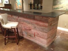 120 year old barn wood reception counter