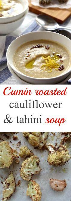 Cumin roasted cauliflower & tahini soup by plusatesix.com blog