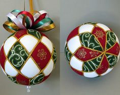 Learn to make your very own Argyle kimekomi Christmas ornament with this PDF tutorial. In this tutorial you will find detailed step-by-step instructions with over 50 close up photos. This design can easily be adjusted to any size ball. A complete list of tools and materials, including size and amount recommendations, are listed in the tutorial. Here is a short list of the main tools and materials you will need.  tucking tool glue stick measure tape foam ball fabric cord trim pearl head pins…