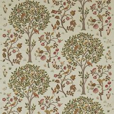 The Original Morris & Co - Kelmscott Tree is a new design by Alison Gee. Inspired by Morris bed curtains at his home Kelmscott Manor which were embroidered by May Morris in 1891 Kelmscott Tree has been painted in the Morris studio and adapted into a beautiful embroidery of trees birds and flowers. It is also available as a print.