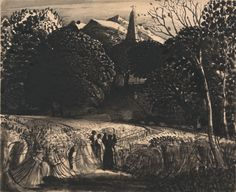 Samuel Palmer, 1805-1881, British, active in Italy (1837-1839), Cornfield and Church by Moonlight, undated, Brush and black ink on very thick, smooth, cream wove paper, Yale Center for British Art, Paul Mellon Collection