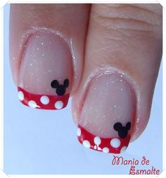Disney nails! Too cute Minnie Mouse Nails, Mickey Nails, Disney Nail Designs, Cute Nail Designs, Cute Nail Art, Cute Nails, Simple Disney Nails, Disney Inspired Nails, Nails After Acrylics
