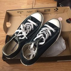 Black chucks Hardly worn chuck Taylor's in great condition! The box says it's a size 3 in youth but it's also a 5.5/6 in women Converse Shoes Sneakers