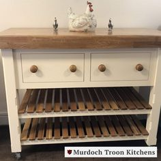 This stunning and versatile traditional butcher's block features two drawers and two slatted shelves. The drawers are made with dovetail joints and run on high-quality Blum mechanical runners. With a unit depth of 500mm, this unit provides ample extra storage and counter space.⠀ ⠀ Like all our units, this butcher block can be painted in any colour from our range to suit your kitchen and can be finished with a choice of 40mm or 80mm solid oak worktop.⠀ Kitchen Units, Kitchen Cart, Kitchen Ideas, Slatted Shelves, Freestanding Kitchen, Counter Space, Extra Storage, Solid Oak, Runners