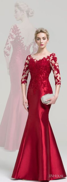 This jaw-dropping evening dress will make you feel like a queen. This gown is made of sleek satin that's embellished with beautiful lace appliques, for a pretty and elegant look. Gaun Dress, Kebaya Dress, Dress Pesta, Dress Brukat, Popular Dresses, Trendy Dresses, Elegant Dresses, Fashion Dresses, Simple Cocktail Dress