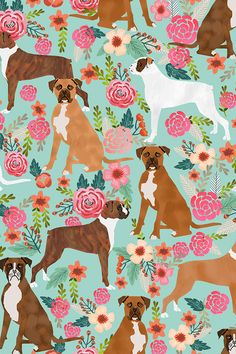 boxer dog vintage florals fabric