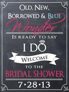 Bridal Shower Sign  http://www.etsy.com/listing/153111092/wedding-bridal-shower-welcome-sign?ref=pr_shop