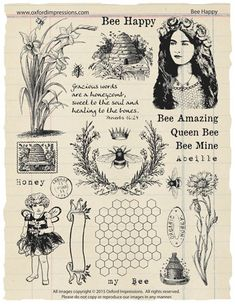 Bee Happy Rubber Stamp Collection by oxfordimpressions on Etsy