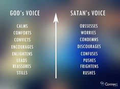 God's Voice vs Satan's Voice Remember what the Spirit feels like. Only Heavenly Father can bless you with peace