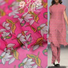 PRINTED WOOL PEACH FABRIC DRESS FABRIC LARGE FLORAL DESIGN