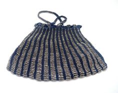 Antique Beaded Swag Bag Knitted Swag Purse with Steel Cut