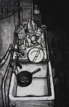 Hogarth Rd (Kitchen Sink)' by Barry Kirk, 1957 (etching) Social Realism, Water Containers, Black And White Prints, A Level Art, Trifles, Etchings, Everyday Objects, Crayon, Print Artist