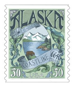 Alaska Vintage Postage Stamp Art Print by Biljana Kroll Postage Stamp Design, Postage Stamps, Old Stamps, Stamp Printing, Alaska, Vintage Travel Posters, Portfolio, Stamp Collecting, Mail Art
