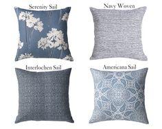 Sail Blue Collection Blue Pillow // Blue Throw par Pillomatic