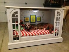 Upcycled TV Console To Dog Bed! Amazing!