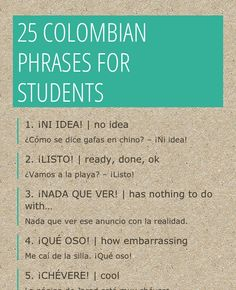 Basic Spanish Phrases from Colombia for Students Infographic
