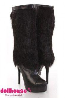 Black Faux Suede Faux Fur Mid Calf Boots