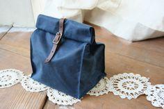 Dark Blue Waxed Canvas Lunch Bag. $48.00