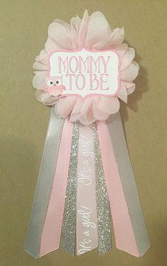 Pink Owl Silver Baby Shower Mommy-to-be Flower Ribbon by afalasca