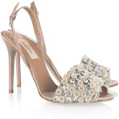 Valentino Crystal-embellished satin sandals ($499) found on Polyvore featuring shoes, sandals, heels, valentino, scarpe, neutral, valentino sandals, nude peep toe shoes, peep toe sandals and peep toe slingback