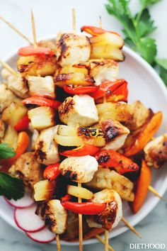 Sesame Soy Pineapple Chicken Kabobs by diethood #Chicken_Kabobs #Pineapple #Peppers #Sesame #Soy #Healthy #Light