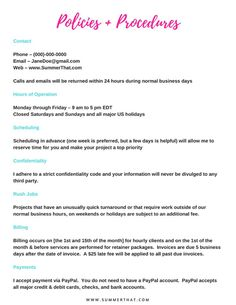 The virtual assistant welcome packet and contract is a 7 page, fully customizeable Word document. In your instant download you will receive:   Welcome Letter to your new client  List of Virtual Assistant Services  A Policies and Procedures Manual  A sample Rates & Fees Sheet  New Client Questionnaire / Intake Form  Extensive Virtual Assistant Contract    NOTE: Contract not pictured. The welcome packet pictured has been customized to fit my brand withmy fonts, brand colors and...