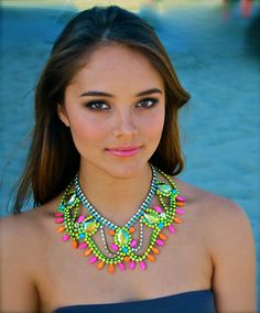 The Classic Neon Crystal Statement Necklace. $390.00, via Etsy.