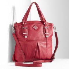 "Simply Vera Vera Wang Memphis Shopper handbag (faux leather) zip pocket & 2 slip pockets, zipper closure, drop down strap length: 22"" and zipper closure."