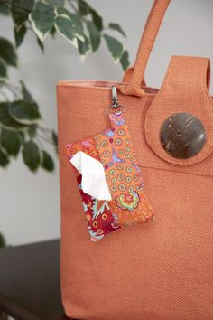 Tissue Holder tutorial - how to make with tab to attach to keyring or bag