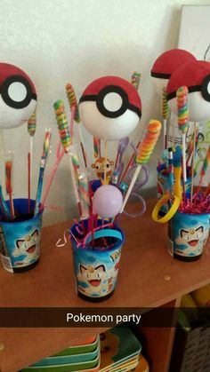 Homemade Pokemon party favors #pokemon #candybouquets #diy