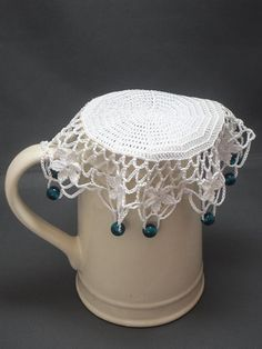 White Crochet Beaded Jug Cover with Blue Beads, Beaded Glass Cover, Bowl Cover, Milk Jug Cover,Creamer Cover, Beaded Doily, Outdoor Dining