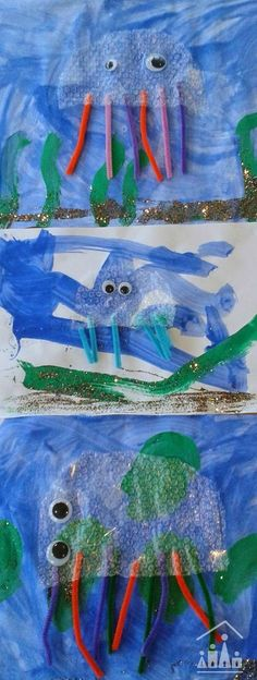 The ultimate Junk Art project - Make Bubble Wrap Jellyfish. Are you looking for a new craft project that ALL of your kids can enjoy doing together? Gather your left over bubble wrap, grab some googly eyes and set them the task of creating their own Bubble Wrap Jellyfish craft. Great for an Under the Sea theme or fun mixed media art project.