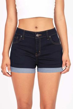 The perfect fit mid rise denim shorts for any wardrobe. Traditional 5 pockets with button and zip fly closure. Great stretch in the material for a comfortable fit. Pairs well with any fitted or flowy