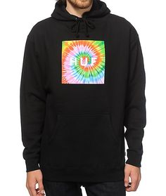 Get your hoodie game on point with an exclusive style that showcases a classic multicolor tie dye fill HUF box logo graphic at the chest of a black colorway.