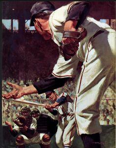 Collier's magazine Illustration by Frank McCarthy 1952 Sports Art, Sports Decor, Magazine Illustration, Illustrators, Cool Art, Dating, Canvas Prints, Catcher, Baseball