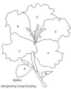 free appliqué flower quilt block pattern - azalea flower