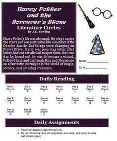 This six page reading activity packet includes everything you need to conduct literature circles for Harry Potter and the Sorcerer's Stone. ($)