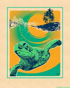 Art Print Honu Surf Retro Style Poster by AlohaPosters on Etsy https://www.etsy.com/listing/269769483/art-print-honu-surf-retro-style-poster