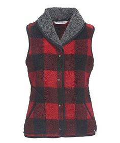 Woolrich® Old Red Buffalo Check Glacier View Fleece Vest | zulily