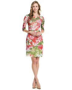 Some of you have to get in on this: Kay Unger Pink Floral Print Mesh Dress