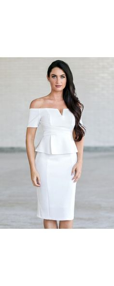 We adore this preppy peplum dress! The Posh and Pretty Peplum Off Shoulder Dress is fully lined. It has off shoulder sleeves, pencil cut midi length and a V dip neckline. Shoulder Sleeve, Shoulder Dress, Sheath Dress, Peplum Dress, White Peplum, Wedding Weekend, Pencil Dress, Hemline, Preppy