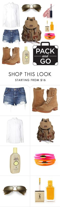 """""""Untitled #31"""" by elizabeth-buttery ❤ liked on Polyvore featuring Topshop, Frye, Alexander Wang, Sun Bum, Liza Schwartz, Ray-Ban, Yves Saint Laurent and Vincent Longo"""