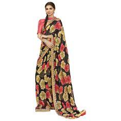 Black Colored Printed Faux Georgette Casual Wear Saree Triveni