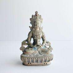 Vintage Tibetan Buddha Statue Maitreya Buddha, Yet To Come, Religious Art, Deities, Shadow Box, Meditation, Statue, Antiques, Character